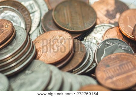 American Coins Closeup Including Quarters, Nickels And Dimes, Selective Focus. One Cent