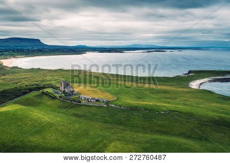 Aerial View Of Classiebawn Castle Built On The Mullaghmore Peninsula In County Sligo, Ireland, With
