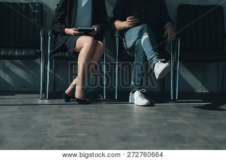 Job Application And Interview. Man And Woman Sitting In Chairs. Personnel Hiring And Business Recrui