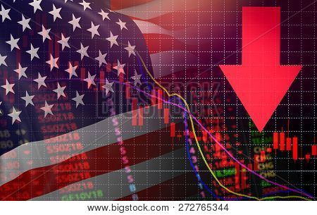 USA. America market stock crisis red price arrow down chart fall New york Stock Exchange market analysis forex graph business finance money crisis losing moving down America usa flag