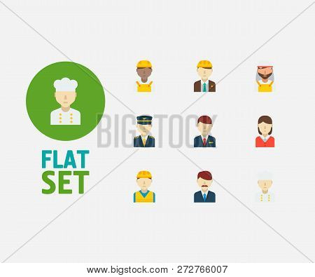 Professional Icons Set. Arab Worker And Professional Icons With Construction Worker, African Worker