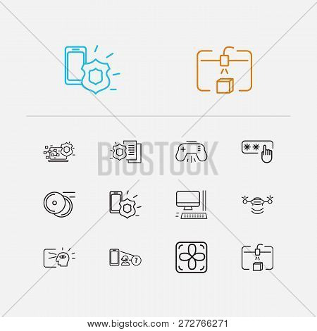Hardware Icons Set. Access Code And Hardware Icons With Steamroller, Computer System Fan And Augment