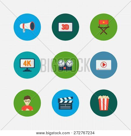 Video Icons Set. Play Video And Video Icons With Open Clapper, Movie Director And Director Chair. Se
