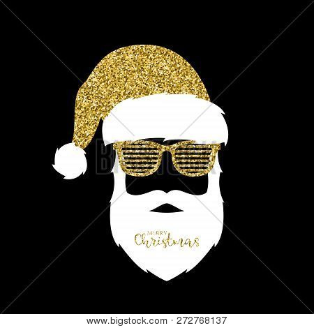 Santa Claus With Hat And Glasses Shutter Shades. Gold Glitter Effect. Vector Illustration.