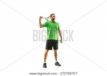 The One Caucasian Man Playing Tennis Isolated On White Background. Studio Shot Of Fit Young Player A