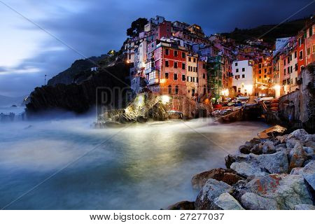 Sunset light in Riomaggiore Village, Cinque Terre, Italy