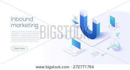 Inbound Marketing Vector Business Illustration In Isometric Design. Online Or Permission Marketing B