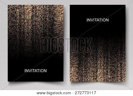 Set Of Wedding Invitation Cards Design. Gold Confetti And Black Background. Vector Illustration.
