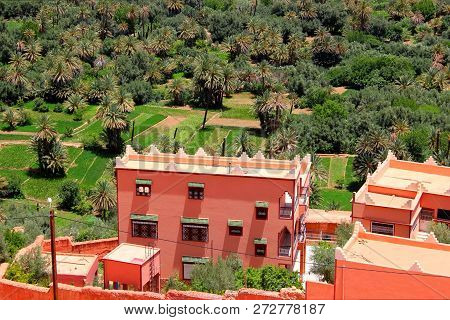 Tinghir, Morocco - June 28, 2014: Buildings In Tinghir,  An Oasis On The Todgha River, Morocco