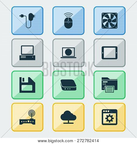 Device Icons Set With Control Device, Tablet, Floppy Disk And Other Plug Elements. Isolated Vector I