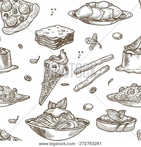 Italian Cuisine Sketch Pattern Background. Vector Seamless Design Of Traditional Italy Food Dishes