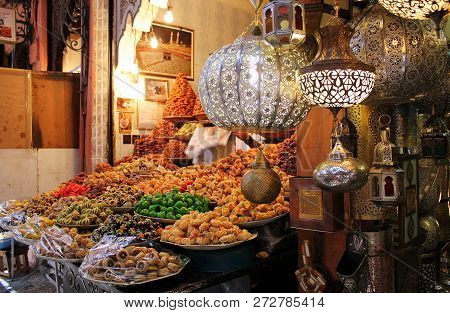 Marrakech, Morocco - June 30, 2014: Variety Of Colorful Dessert At Moroccan Souk Market. Marrakesh,m