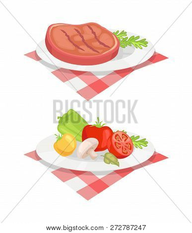 Beefsteak Served On Plate And Cloth Isolated Icons Vector Set. Beef Roasted Barbeque Bbq Meat With V