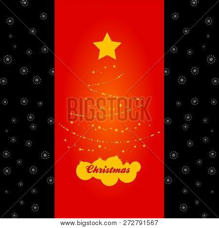 Abstract Christmas Tree Yellow Silhouette Made Of Stars And Baubles On Red Panel Over Black Backgrou