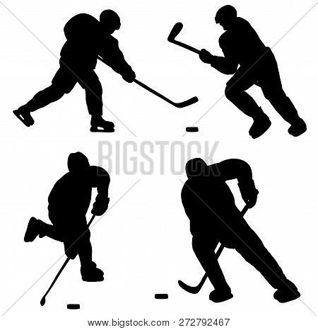 Silhouettes Of Hockey Players With Hockey Puck And Sticks. Vector Illustration