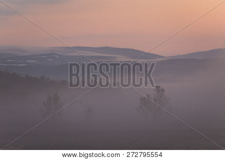 Foggy White Night In The Area Of Nordgruvefeltet, Norway.