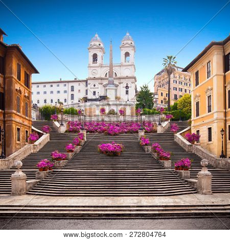 Spanish Steps At Dusk, Rome, Italy, Europe