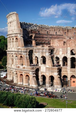 Section Of Colosseum, Rome. Rome Architecture And Landmark.