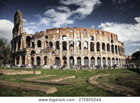 The Magnificent Colosseum At Midday, Rome, Italy, Europe.
