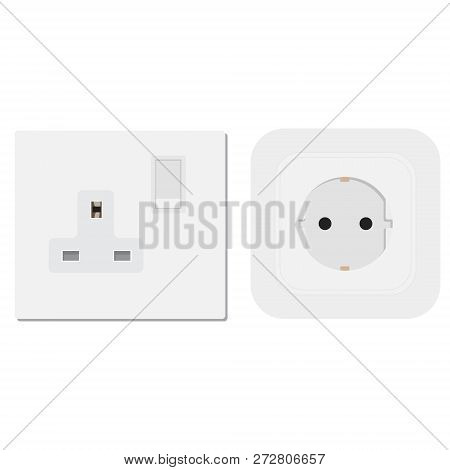 Socket  Vector Electrical Outlet For Electric Plugs And Electricity Illustration Set
