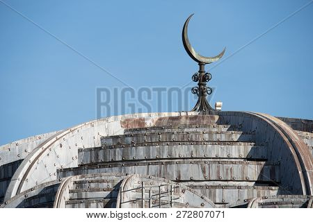Dome Of The Islamic Mosque Of Rome, Italy, Europe.