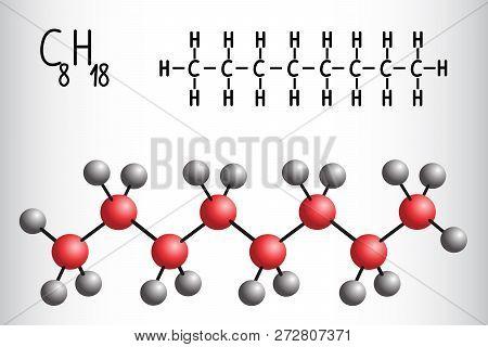 Chemical Formula And Molecule Model Of Octane C8h18. Vector Illustration
