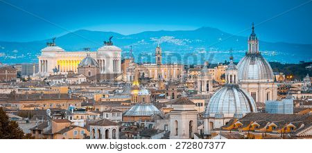 View Of Rome From Castel Santangelo. Rome Cityscape