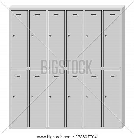 Vector Illustration Metal School Sport Lockers. Gym Locker. Locker Door. Deposit Lockers