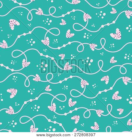 Funky Bubbly Pink And Cream Hand Drawn Doodle Lines And Hearts Seamless Vector Pattern Turquoise Bac