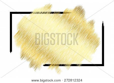 Gold Metall Texture, Black Frame. Golden Color Paint Stroke Isolated White Background. Glitter Stain