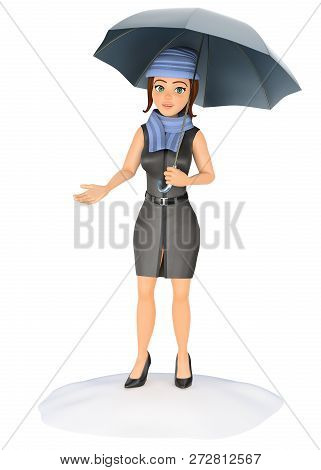 3d Business People Illustration. Businesswoman Protecting Herself From The Rain With An Umbrella. Is