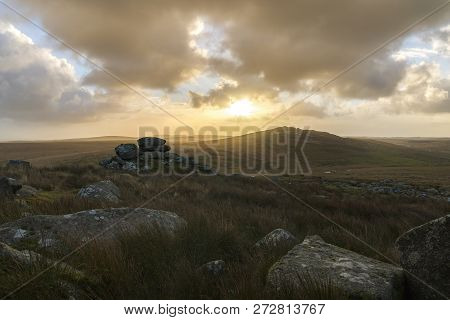 Brown Willy Tor On Bodmin Moor At Sunrise With Beautiful Sky, Cornwall, Uk