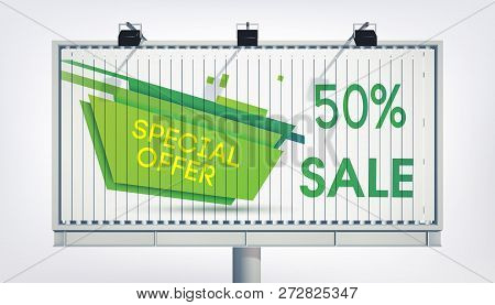 Big Billboard Sale Banner With Three Lights, Gigantic Word Super Sale, Seventeen Percent And The Gre