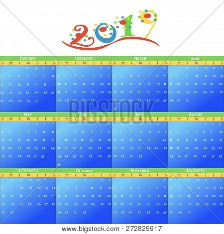 A Monthly Calendar With Blue, Green, Yellow And Red Theme