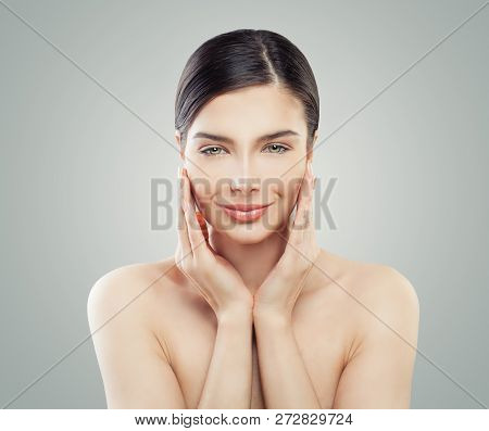 poster of Female face. Healthy young woman spa model. Facelift, skincare and facial treatment concept