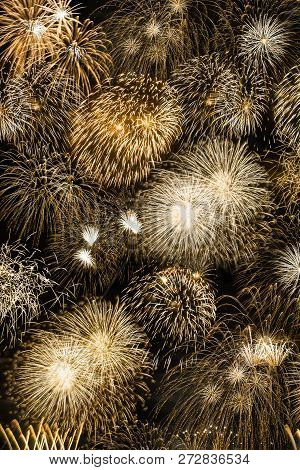 New Year's Eve Fireworks Gold Golden Background Portrait Format Years Year Firework