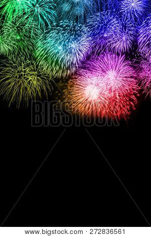 New Year's Eve Fireworks Background Copyspace Copy Space Portrait Format Colorful Years Year Firewor