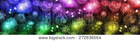 New Year's Eve Fireworks Background Large Banner Colorful Years Year Firework