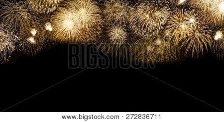 New Year's Eve Fireworks Gold Golden Background Copyspace Copy Space Banner Years Year Firework