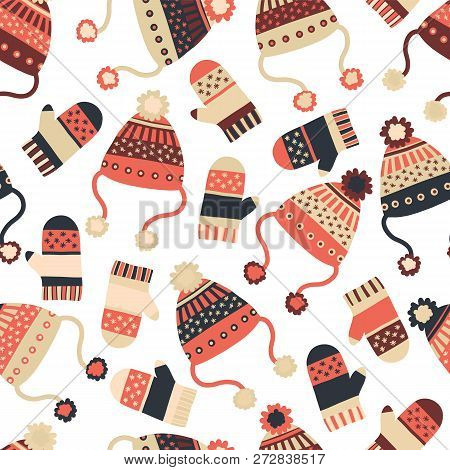 Seamless Vector Background With Hats And Mittens. Pattern Tile With Knitted Winter Clothes In Red An