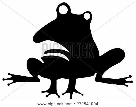 Odd Frog Humorous Stencil Black, Vector Illustration, Horizontal, Isolated