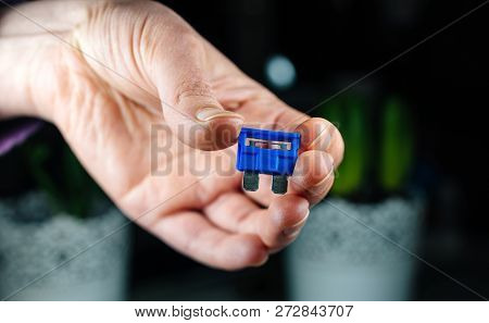 Woman Hand Holding Car Accesories - Blue Amp Rated Car Fuses Before Inserting Them Fuse Box Closeup
