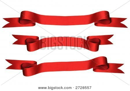 Red Ribbons With Clipping Paths)