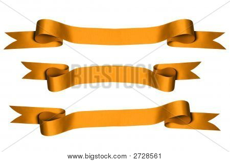 Gold ribbons with bank space for text - PHOTOGRAPH (With Clipping Paths) poster