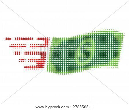 Waving Dollar Banknote Halftone Dotted Icon With Fast Speed Effect. Vector Illustration Of Waving Do