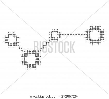 Gear Links Halftone Dotted Icon. Halftone Pattern Contains Circle Pixels. Vector Illustration Of Gea