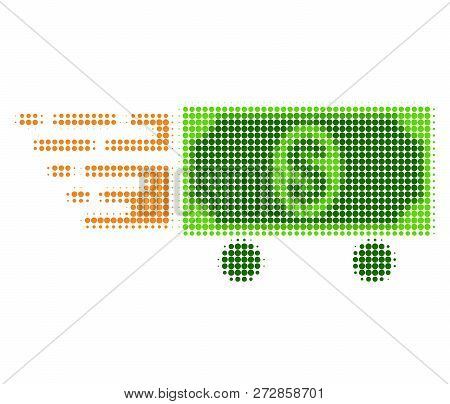 Dollar Delivery Halftone Dotted Icon With Fast Speed Effect. Vector Illustration Of Dollar Delivery
