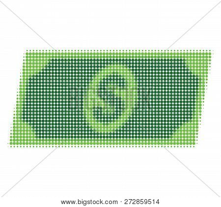Dollar Banknote Halftone Dotted Icon. Halftone Pattern Contains Circle Dots. Vector Illustration Of