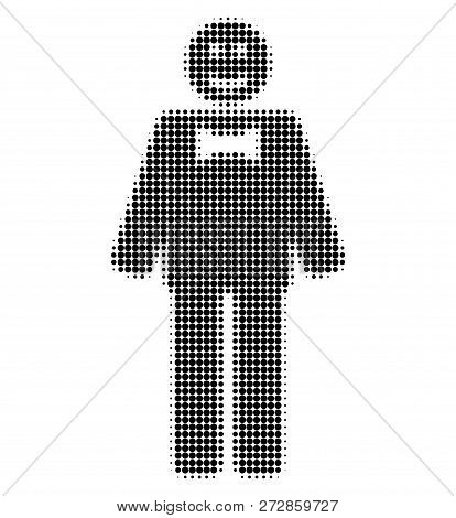 Happy Mister Halftone Dotted Icon. Halftone Array Contains Circle Elements. Vector Illustration Of H