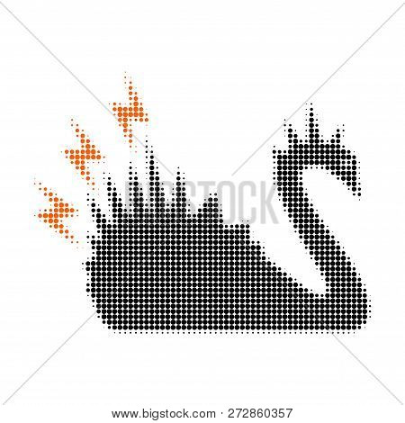Black Danger Swan Halftone Dotted Icon. Halftone Array Contains Circle Points. Vector Illustration O